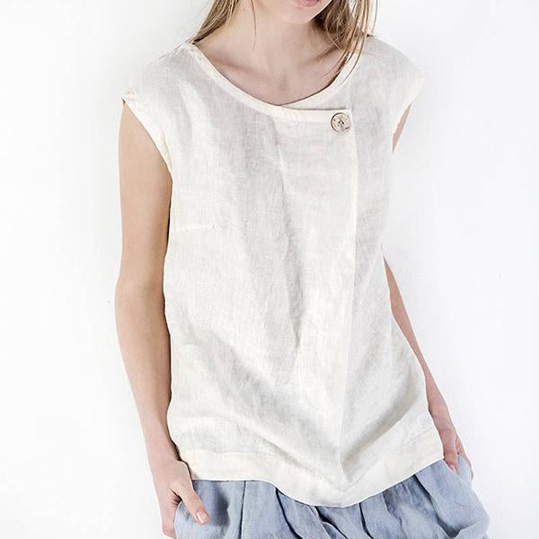 Solid Color Button Sleeveless Blouse