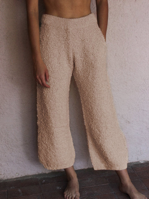 Solid Color Loose Plush Plus Sizes Pants