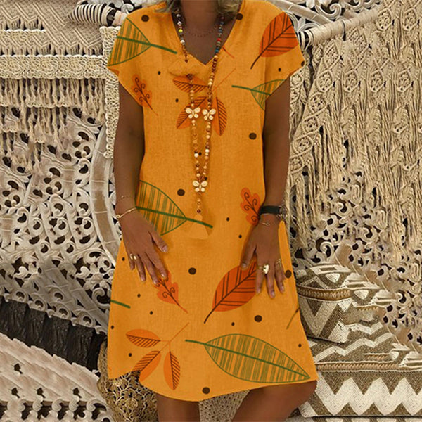 Leaf Printed Loose V Neck Dress