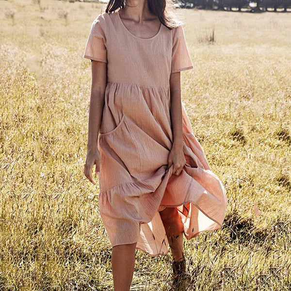 Casual Plain Crew Neck Solid Color Dress