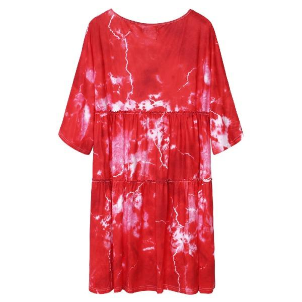 Women Tie Dye Half Sleeve Ruffle Swing Fashion Dresses