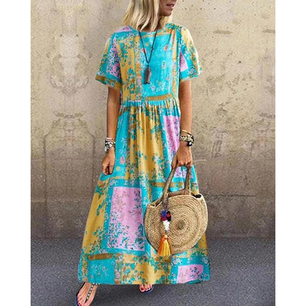 Casual Pleated Round Neck Short Sleeve Printed Dress