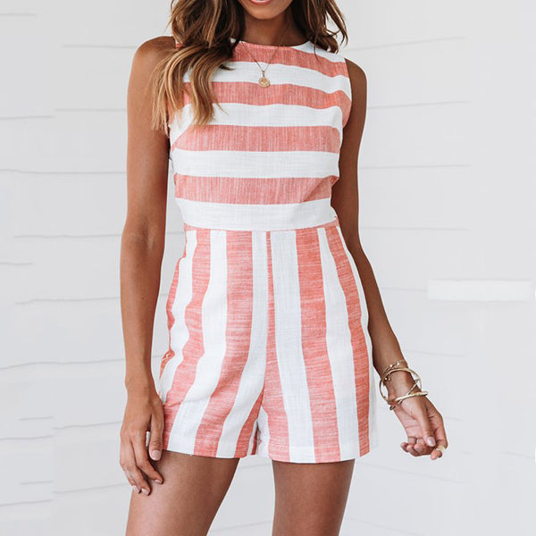 Casual Stripe Sleeveless Jumpsuits