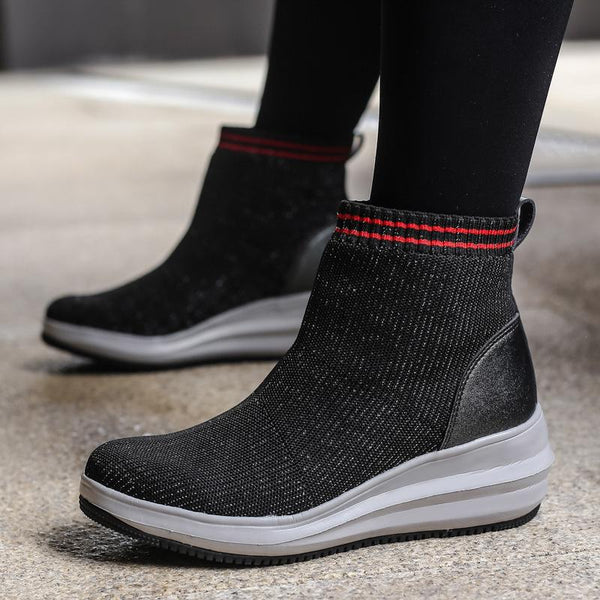 Womens Winter Wedge Heel Socks Boots