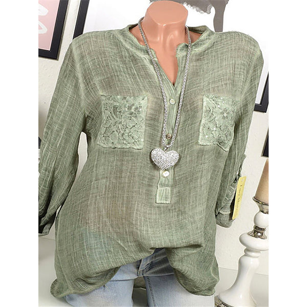 Daily Lace Pocket Solid Color Blouse