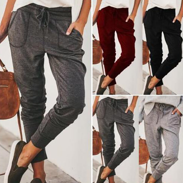 Elastic Waist Solid Color Pants