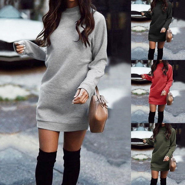 Casual Ladies Plus Velvet Long Sleeve Thicken Sweater Dresses