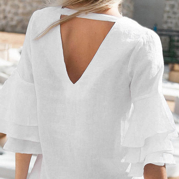 Daily Ruffle Sleeve V Neck Dress