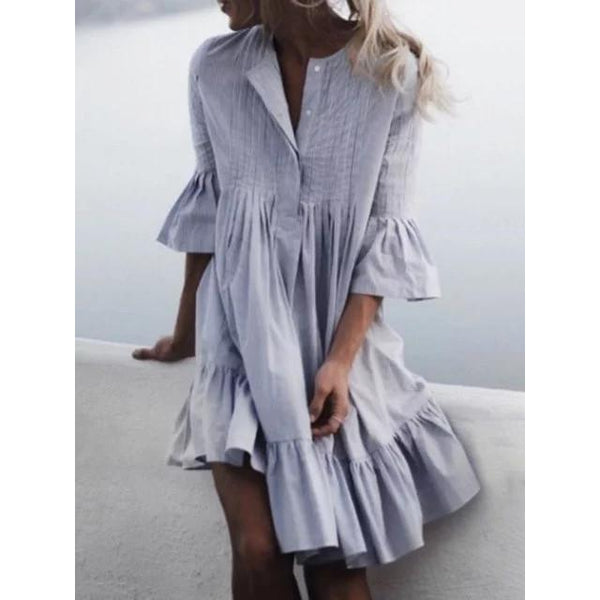 Summer 3/4 Sleeves Buttoned V Neck Swing Dresses