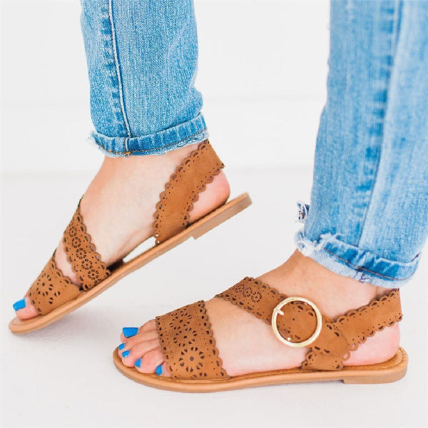 Flat Openwork Carved Sandals