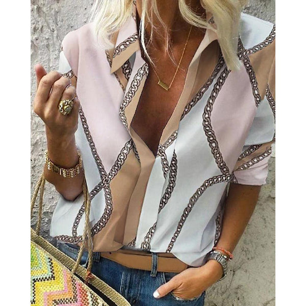 Fashion Chain Scarf Printed Long Sleeve Casual Blouses