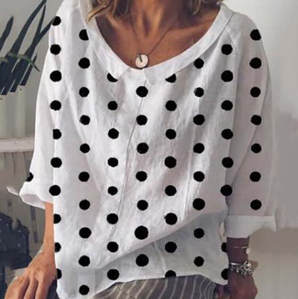 Plus Size Polka Dot Loose Blouse