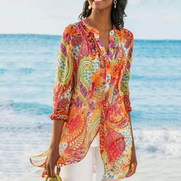Plus Size Bohemian Printed Standing Collar Blouse