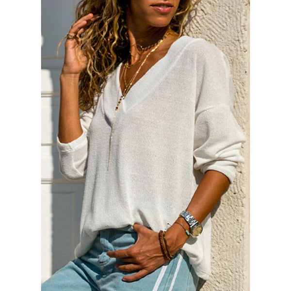 Casual Solid Color V Neck Plain T-Shirts