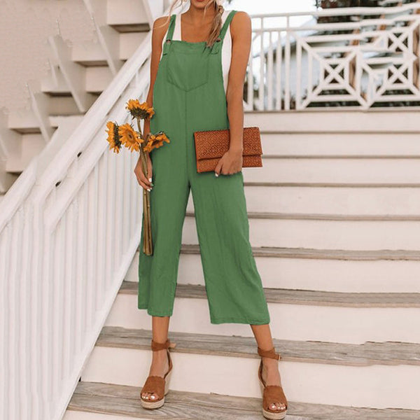 Casual Pocket Solid Color Jumpsuits