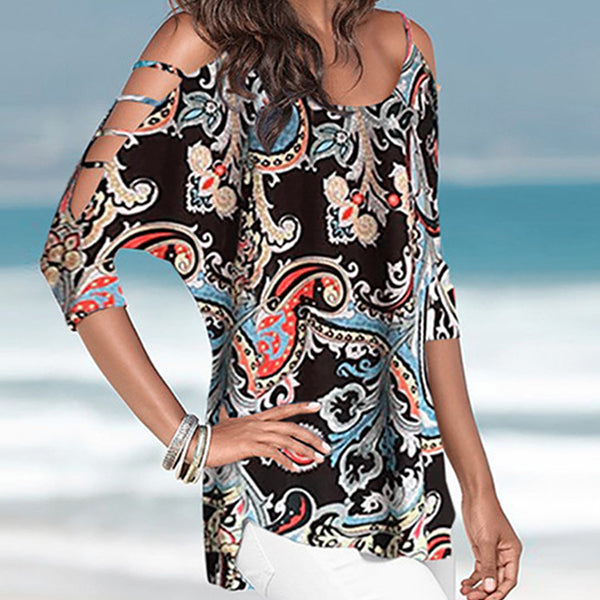 Casual Printed Round Neck Plus Size Blouses