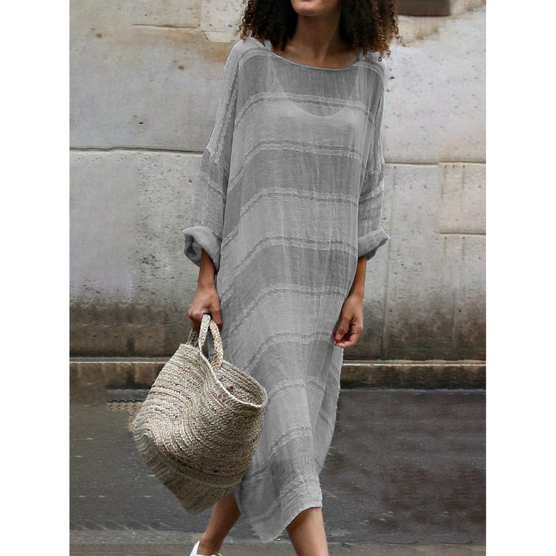 Striped Crew Neck Casual Plus Size Dresses
