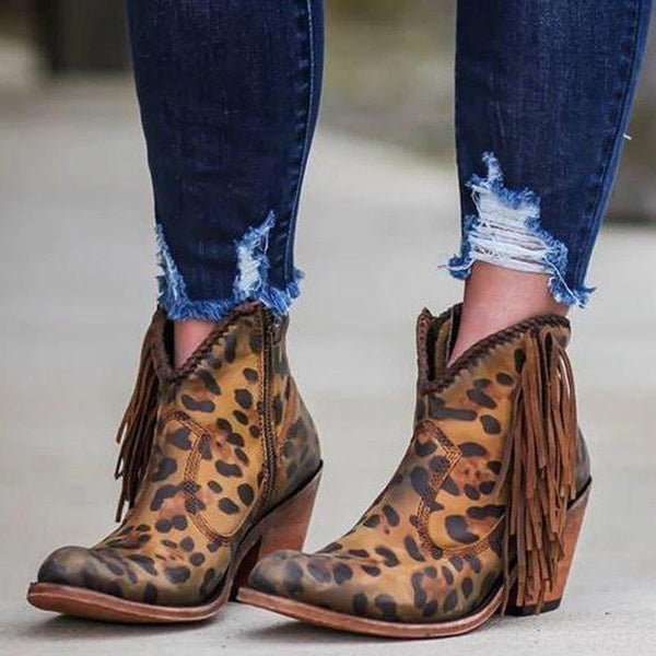 Fashion Leopard Tassel Low Heel Boots