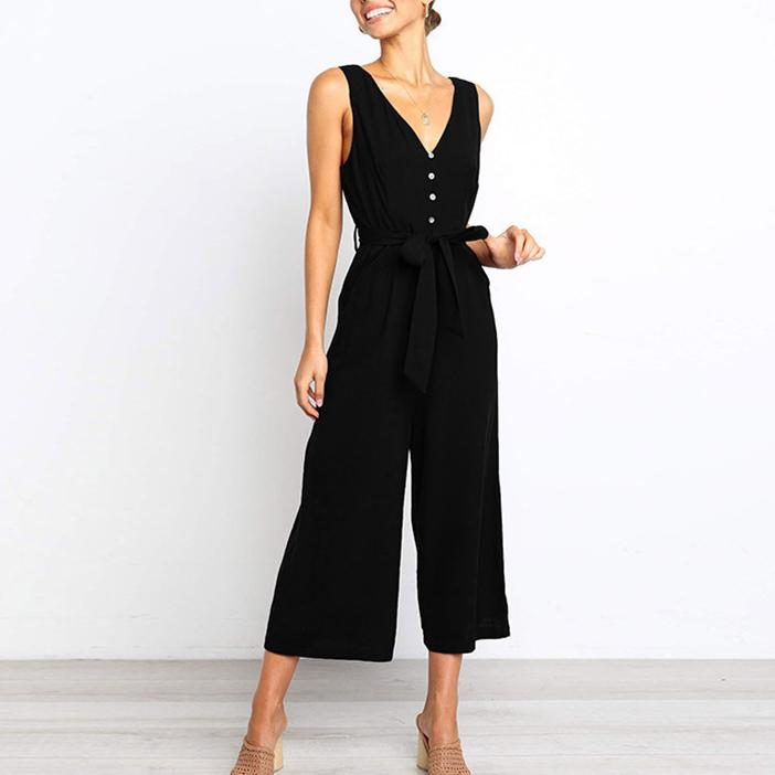 Summer Elegant V Collar Sleeveless Plain Jumpsuit With Waistband