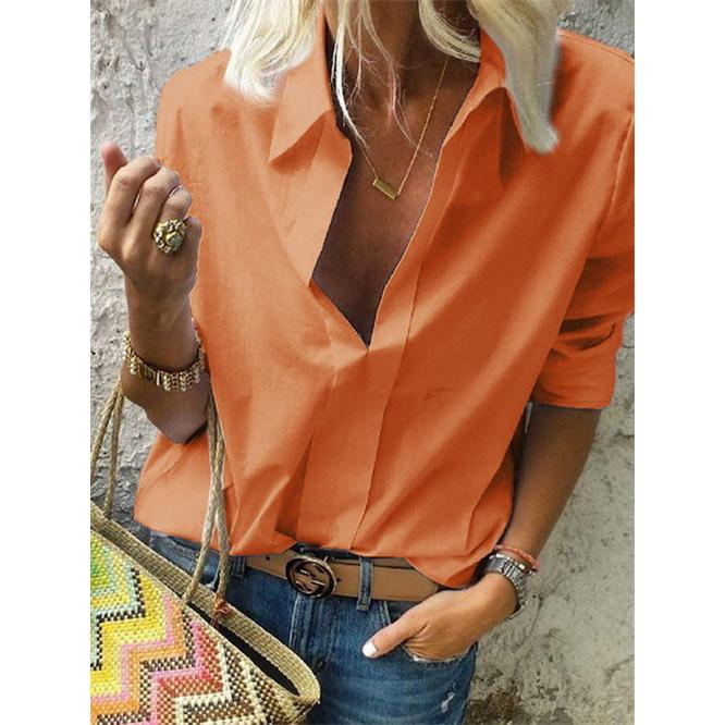 New Women's Spring Solid Long Sleeved V-Neck Blouse