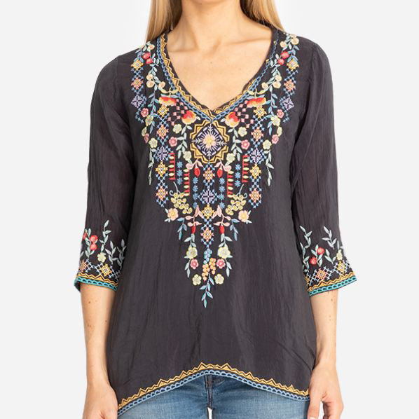 Bohemian Mid-Sleeved Flower Embroidered Blouses