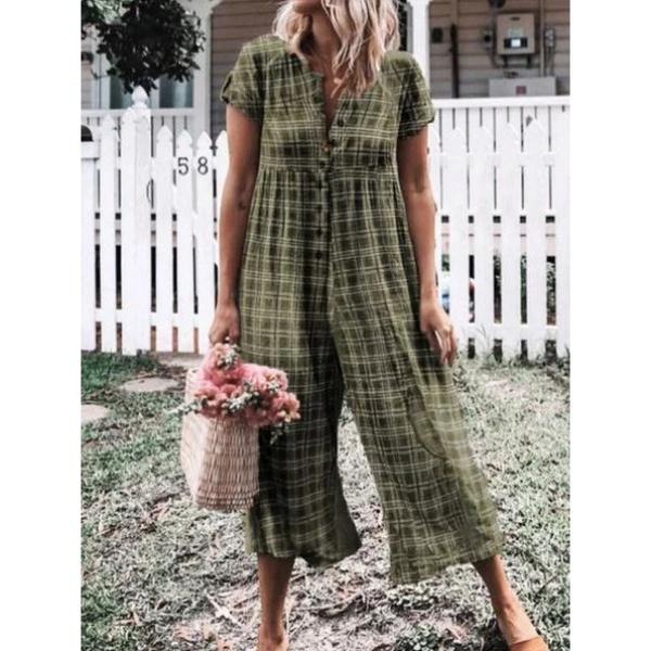 Summer Buttoned V Neck Casual Jumpsuits