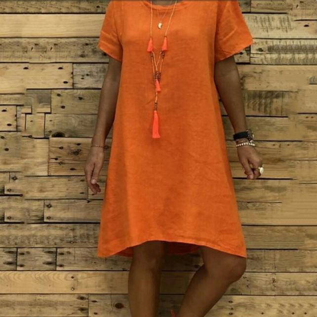 Plain Loose Short-Sleeved Dress