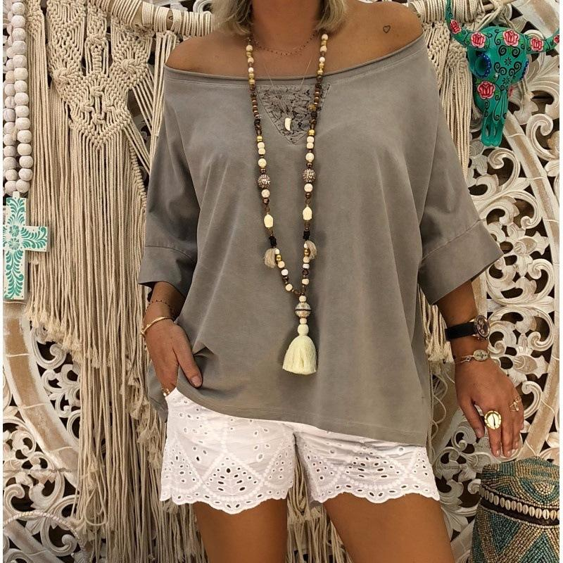 Solid Color Loose One Shoulder  1/2 Sleeve Plus Size T-Shirt
