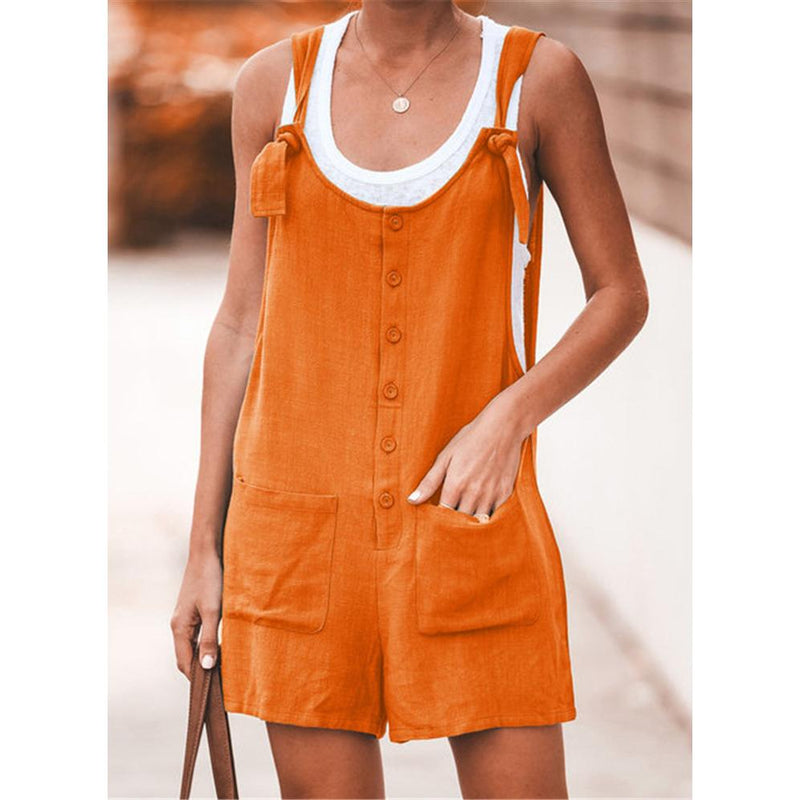 Solid Color Pocket With Cotton And Linen Strap Jumpsuit