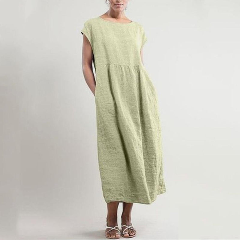 Solid Color Sleeveless Loose Cotton Pocket Dress