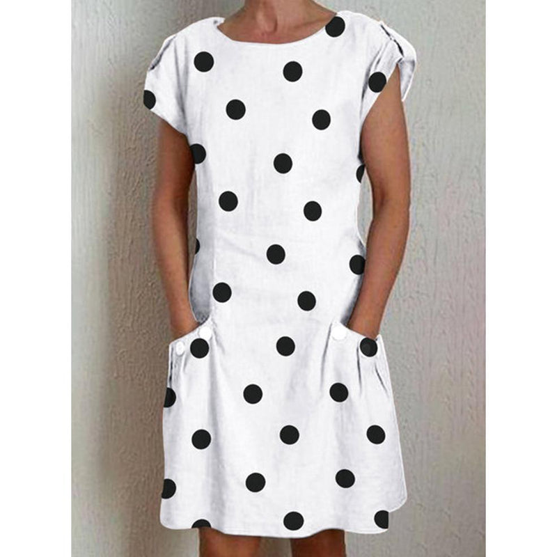 Polka Dot Crew Neck Women Dresses