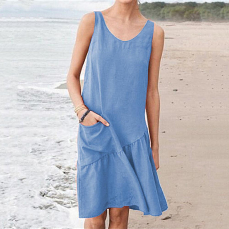 V-Neck Stitching Sleeveless Cotton Dress