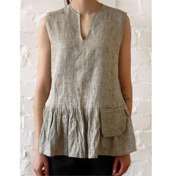 New Pocket Pleated Casual V-Neck Stitching Sleeveless Vest T-Shirt