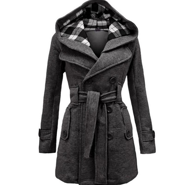 Women Double Breasted Slim Coat with Belt