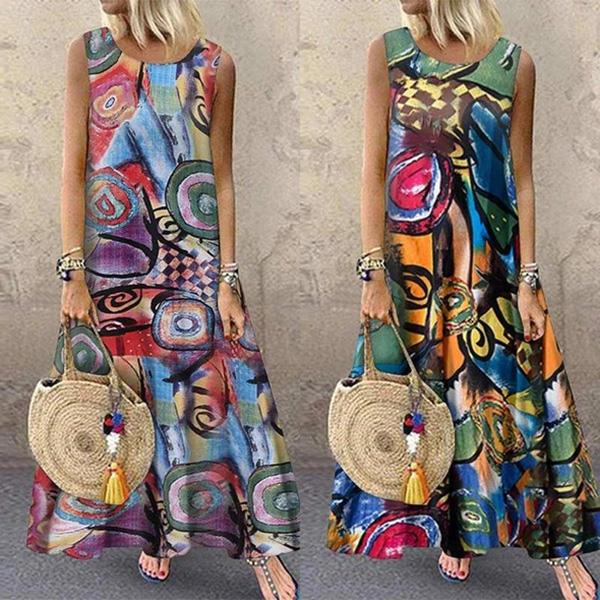 Sleeveless Printed Round Neck Vintage Dresses