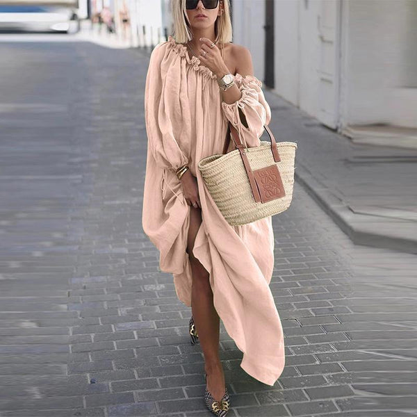 One-shoulder Big Swing Loose Casual Dress