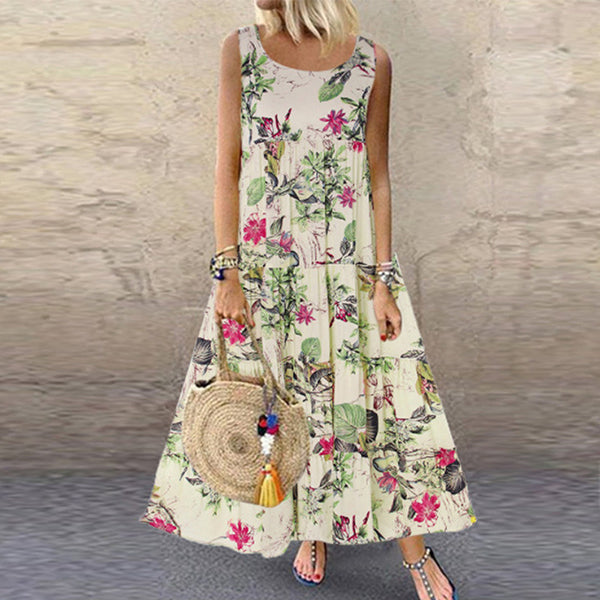 Summer Round Neck Short Sleeve Women Dress