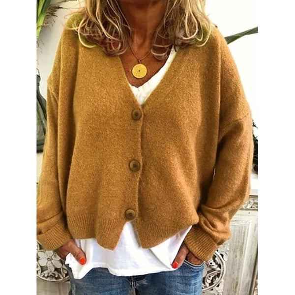 Casual Solid Color Button Knitting Cardigan