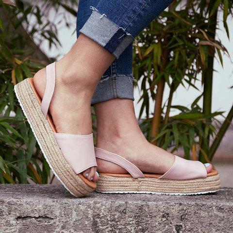 Women PU Creepers Shoes Casual Back Strap Peep Toe Sandals
