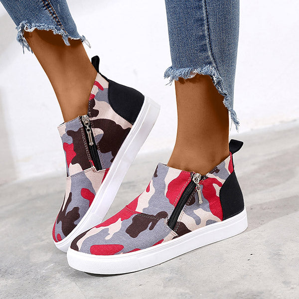Round Toe Platform Zipper Daily Sneakers