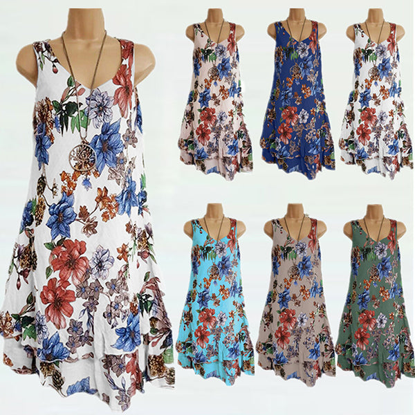 Irregular Sleeveless Printed Dress