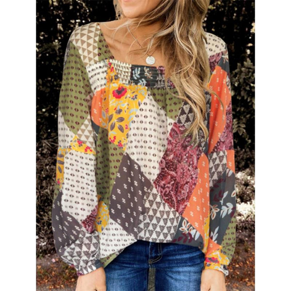 Multicolor Floral Printed Casual Square Neck Blouse