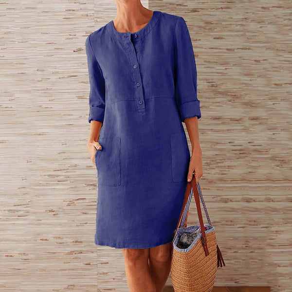 Women Elegant Mid-length Long-sleeved Shirt Dresses