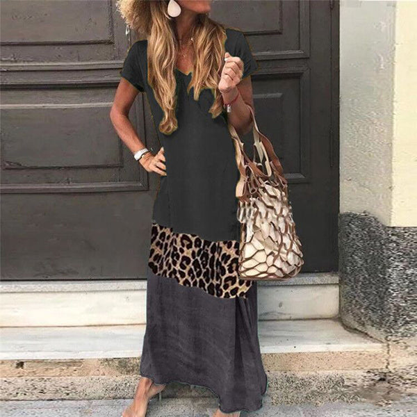 Loose Leopard Stitching Short Sleeve Printed V-neck Dress