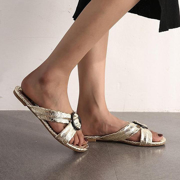 Vintage Across Strap Flat Vacation Slippers