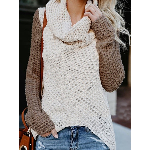 Casual Patchwork High Neck Irregular Sweaters