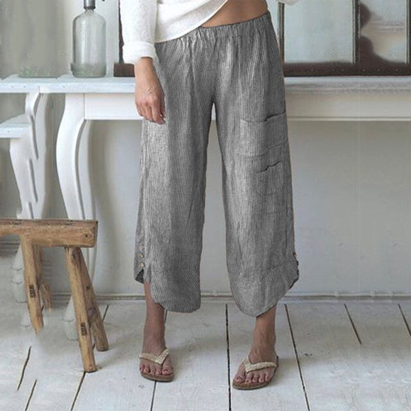 Plus Size Solid Color Pocket Loose Pants