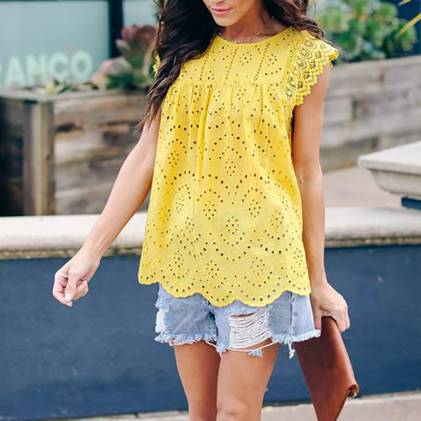 Solid Color Women Casual Lace Summer Blouse