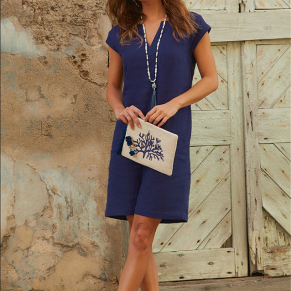 Loose Solid Color V Neck Sleeveless Dress