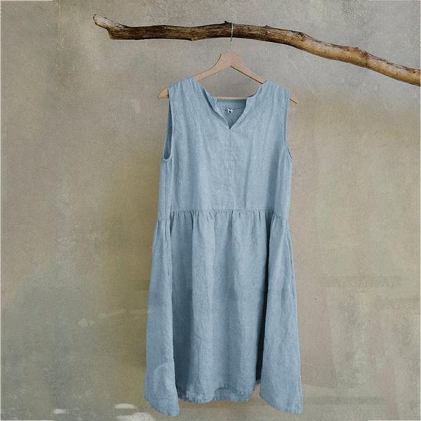 Simple Solid Color V-neck Dress
